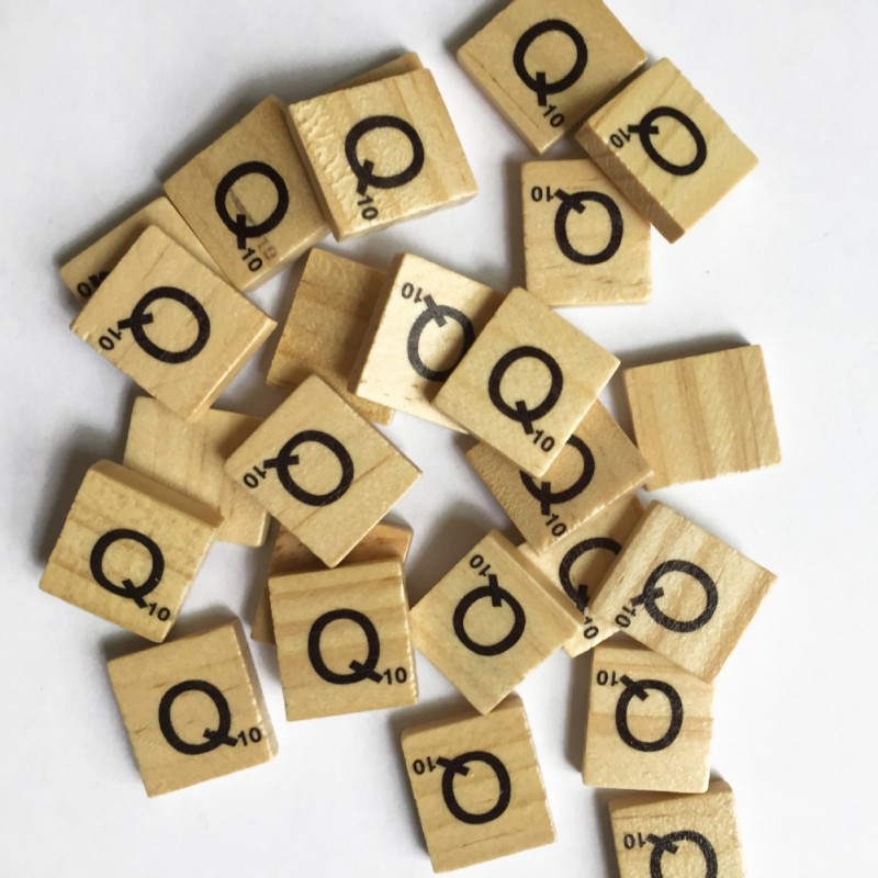 Figurines Miniatures Wooden Scrabble Letters Scrabble Tiles Statuettes Alphabet Black Le ...