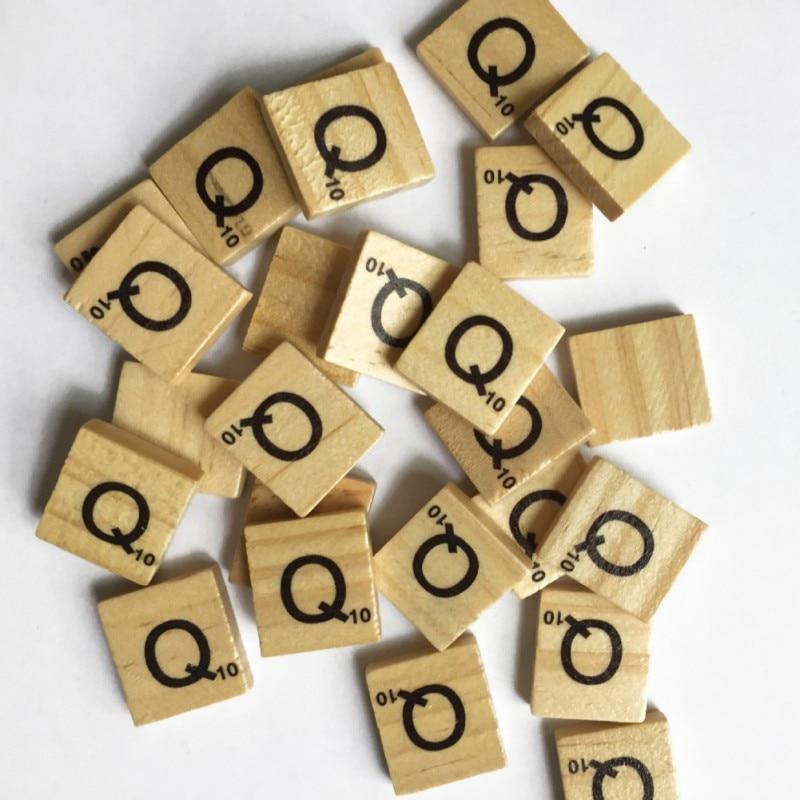 Figurines Miniatures Wooden Scrabble Letters Scrabble Tiles Statuettes Alphabet Black Letters 100 pcs 1.8x2cm