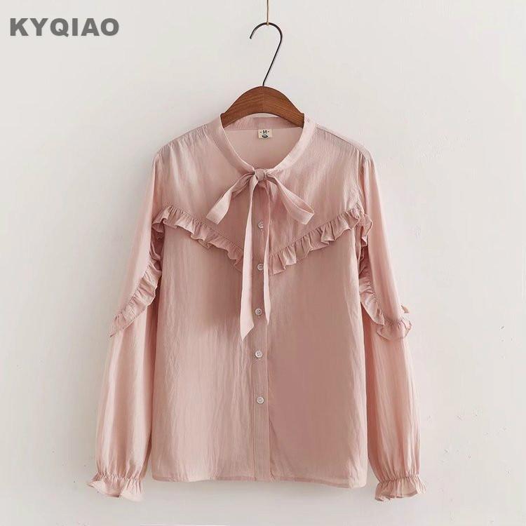 Women's Clothing Kyqiao Women Pink Shirt 2019 Mori Girls Autumn Spring Japanese Style Peter Pan Collar Long Sleeve Print Blouse Blusas Femininas