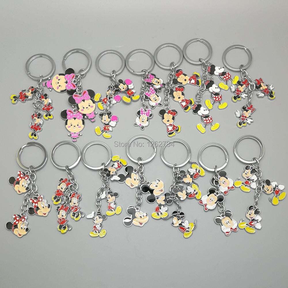 1PCS Minnie Mickey Mouse Keychain Metal Figures Key Ring Pendants TOY TYTJ