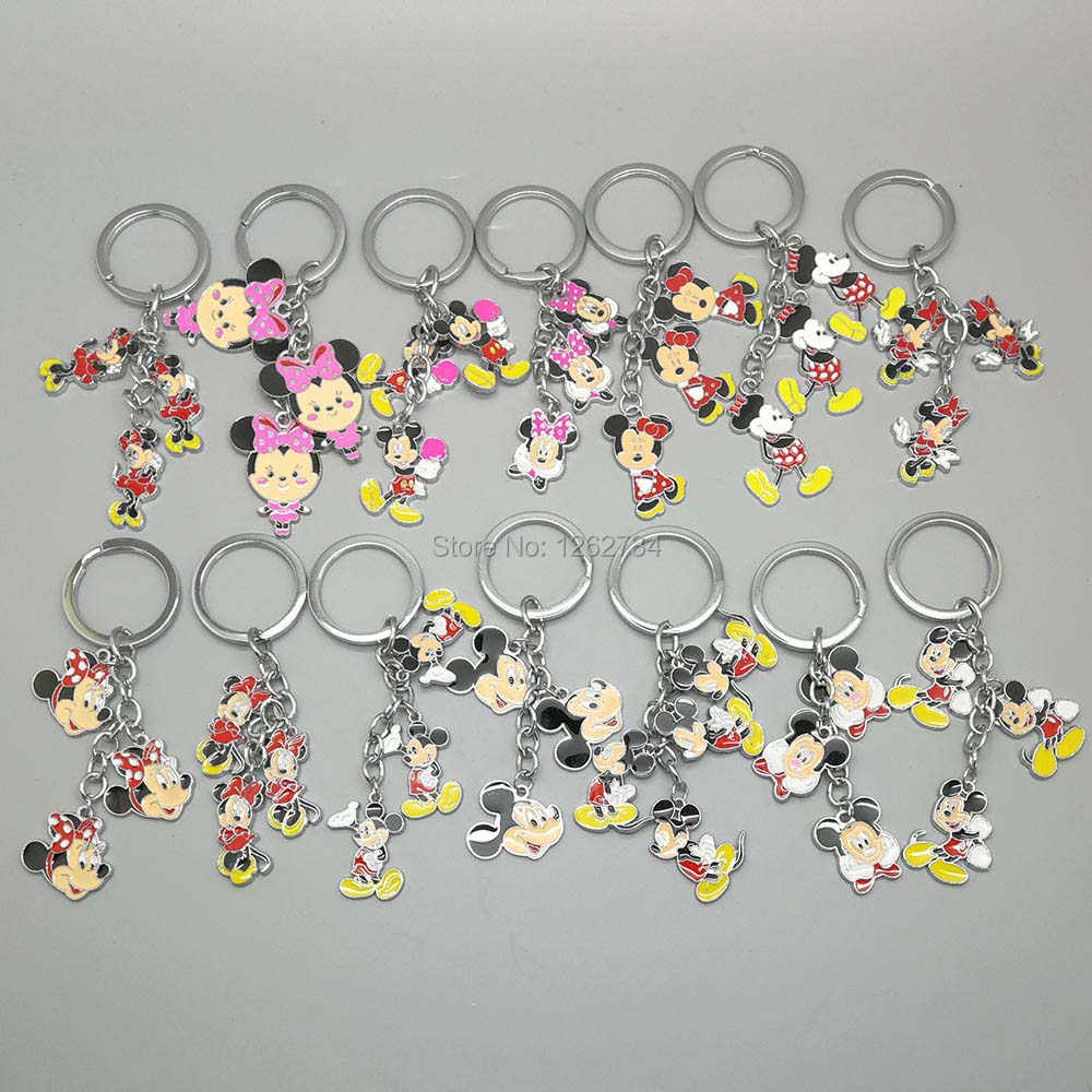 1 PCS Minnie Mickey Mouse BRINQUEDO Keychain do Metal Figuras Pingentes Anel Chave TYTJ