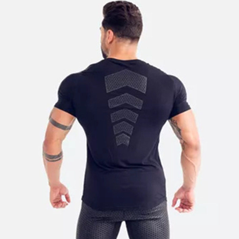 Image 5 - Compression Quick dry T shirt Men Running Sport Skinny Short Tee Shirt Male Gym Fitness Bodybuilding Workout Black Tops ClothingT-Shirts   -