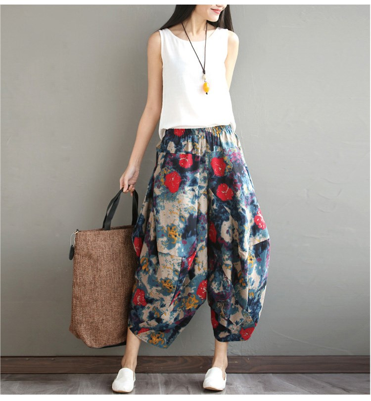 2019 Summer Women Elastic Waist Harem   Pants   Boho Floral Print Long   Pants   Casual Cotton Linen Loose Trousers