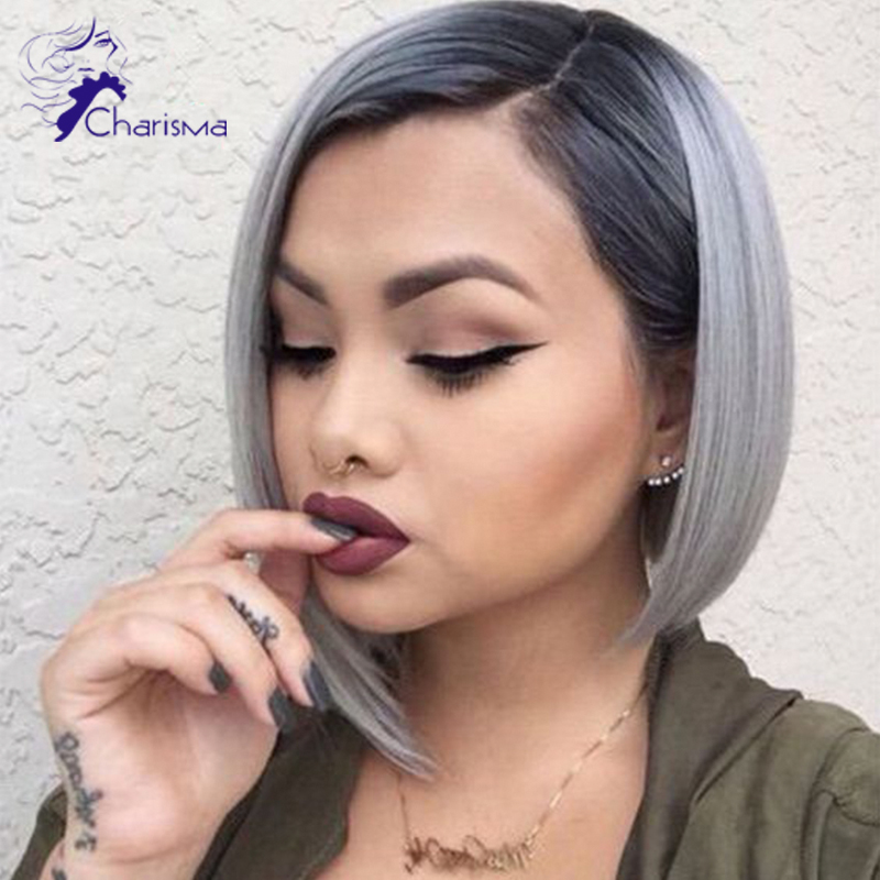 2016 New Ombre Grey Wigs Short Straight Virgin Hair