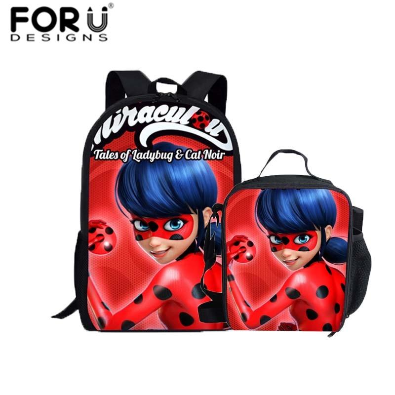 купить FORUDESIGNS Miraculous Ladybug Print School Bags Unicorn Backpack for Girls Boys Orthopedic Schoolbag Children Book Bag Satchels по цене 590.22 рублей