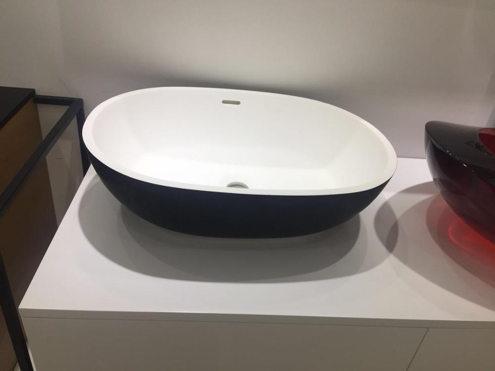 <font><b>555</b></font> x 400 x 155mm CUPC Approval Oval Counter top Solid Surface Washbasin Corian Acrylic Resin Vessel Sink RS38888 image