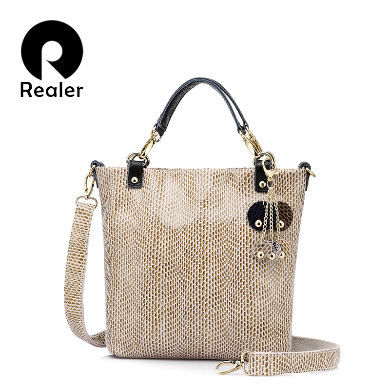 REALER brand genuine leather handbag female casual leather tote top-handle bag s