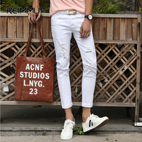 2017 Spring And Summer New Men S Jeans Pants Korean Style White Black Skinny Hole Jeans