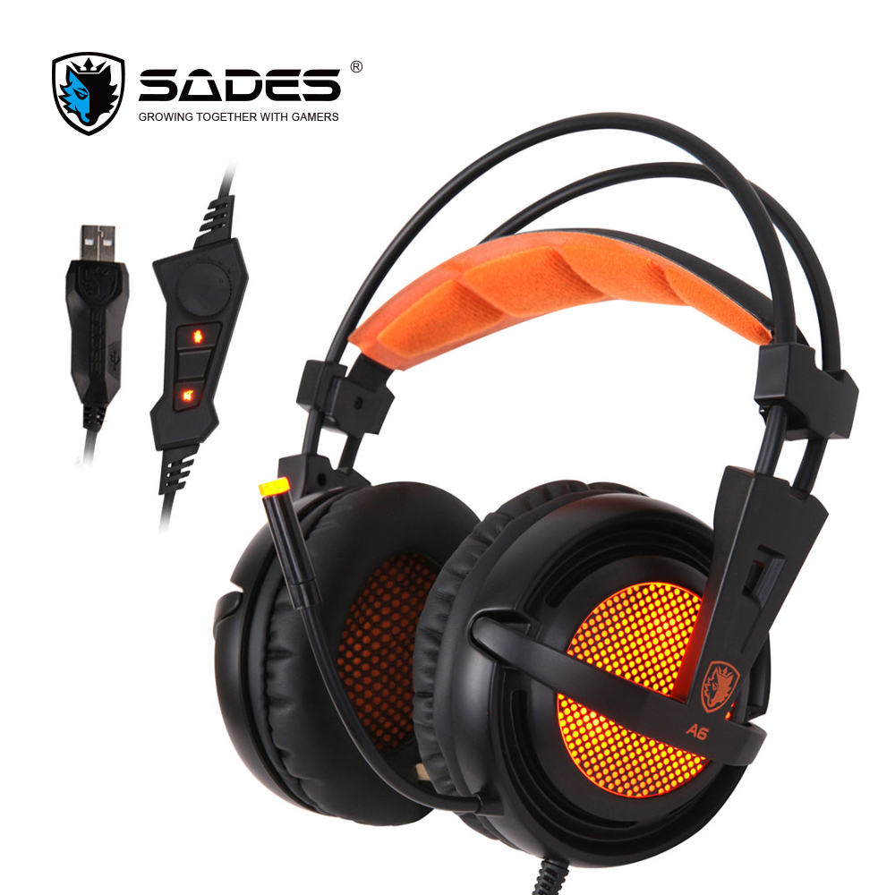 SADES A6 Virtual 7.1 Stereo Surround Gaming Headset USB Headphones LED Ear Muffle Headphone sades a6 usb 7 1 surround sound stereo gaming headset headband over ear headphone with mic volume control led light for pc gamer