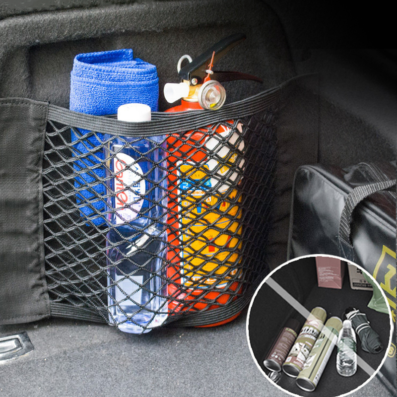 Car Organizer Mesh Trunk Net Car Goods Universal Storage Rear Seat Back Stowing Tidying Auto Accessories Travel Pock Bag Network