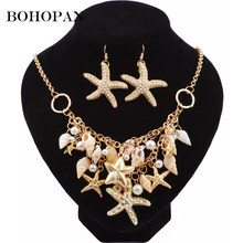 Personalized Jewelry Set For Women Conch Starfish Earrings Large Necklace Fashion Jewelry Boho Style Ocean Animal Jewelry Set(China)