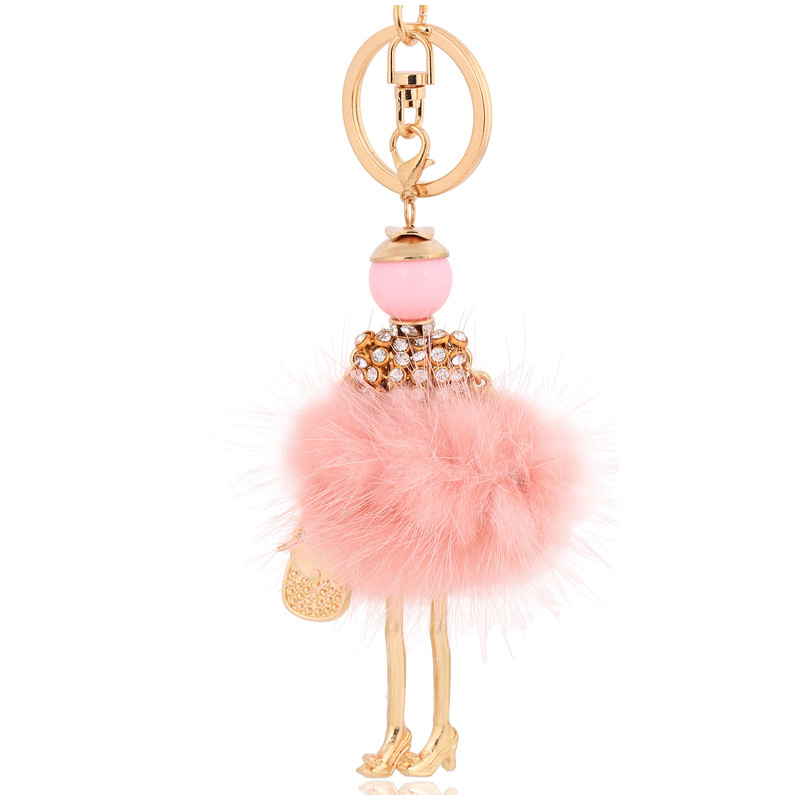 fur ball keychain for women bag fur <font><b>pom</b></font> <font><b>pom</b></font> fluffy lovely <font><b>key</b></font> chain car pendants fur <font><b>key</b></font> <font><b>ring</b></font> charm pink keyring accessories image
