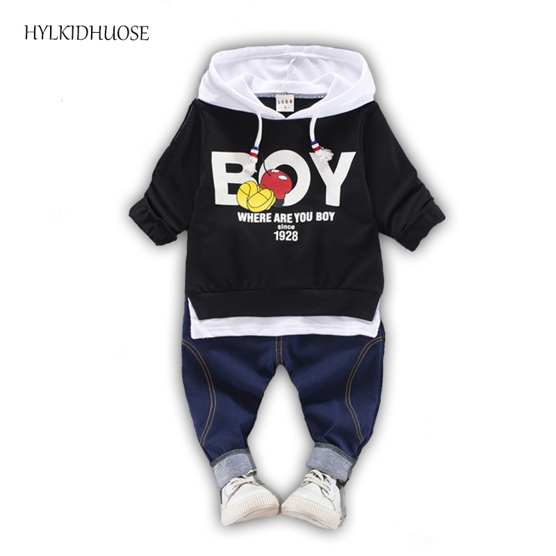 HYLKIDHUOSE 2017 Children Clothes Sets Baby Girls Boys Suits Autumn Wear Infant Cartoon Hooded T Shirt+Pants Kids Casual Suits