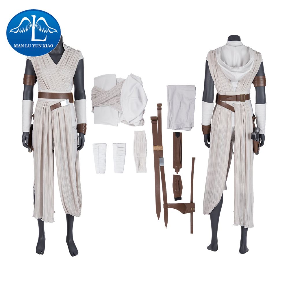 Rey Costume Star Wars 9 The Rise of Skywalker Cosplay Halloween Adult Superhero Jedi Rey Outfit Cosplay Boots Women Pants