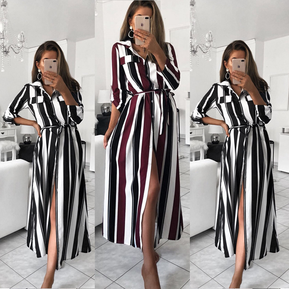 Stripe Maxi Dress 2019 Office Lady Turn-Down Collar Button Long Shirt Dress Women Autumn Summer Long Sleeve Dress