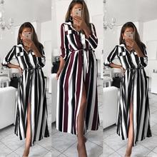 Stripe Maxi Dress 2019 Office Lady Turn-Down Collar Button Long Shirt Dress Women Autumn Summer Long Sleeve Dress