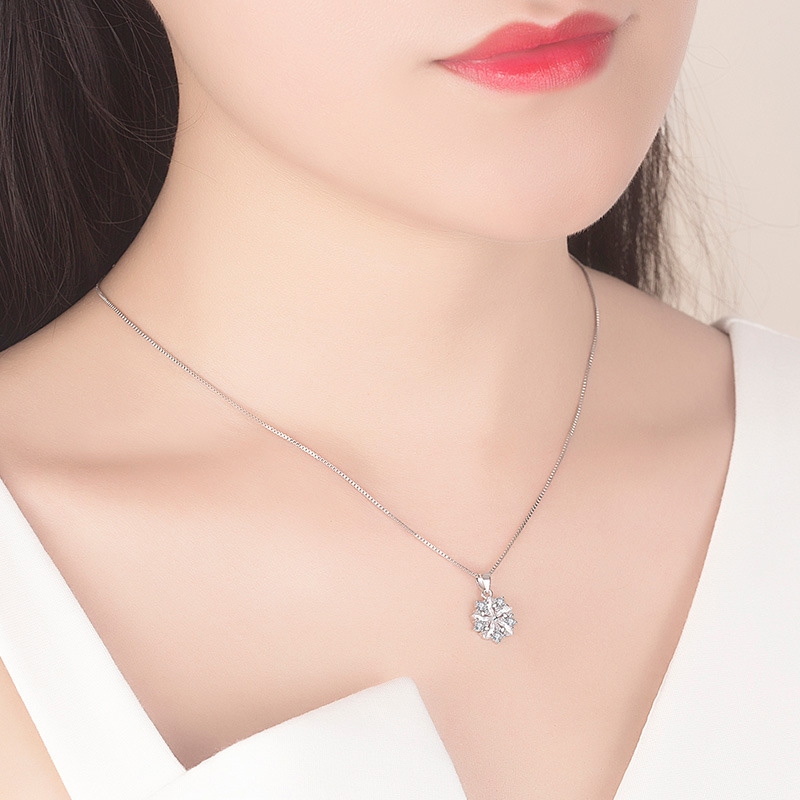 Купить с кэшбэком Luxury Cute Flower Pendant Necklace Women Female Fashion Pink White Cubic Zircon Crystal Long Chain Necklace Party Jewelry Gift