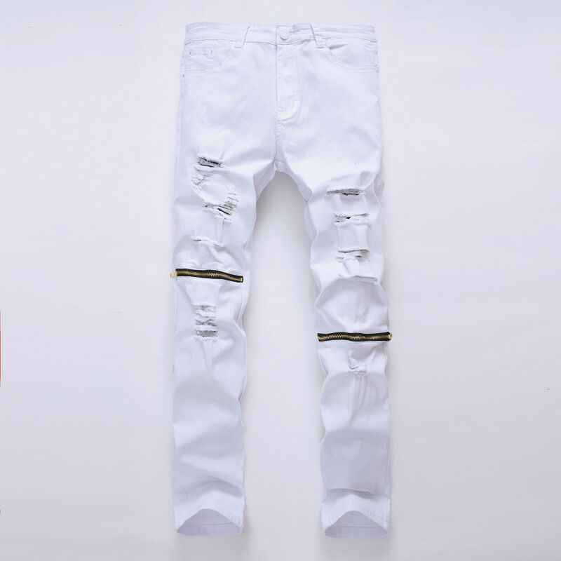 White Ripped Jeans Men With Holes Super Skinny Famous Designer Brand Slim Fit Destroyed Jeans Pencil pants Slim zipper Jeans