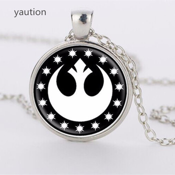 3 colors Star wars Necklace, New Republic Pendant, Glass round jewelry Anchor Pendant Charm Necklace Chain image