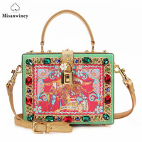 Misanwiney 2017 Diamond Party Bags Women Famous Brand Crossbody Box Bag Luxury Flower Evening Clutch Bag