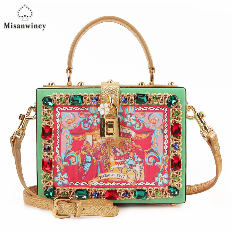 Misanwiney 2017 Diamond party bags women famous brand crossbody box bag luxury flower evening clutch bag fashion designer