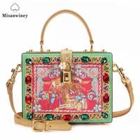 Misanwiney 2017 Diamond party bags women famous brand crossbody box bag luxury flower evening clutch bag fashion designer