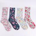 Double-sided printing full algodão no outono e inverno em meias tubo meias femininas flores
