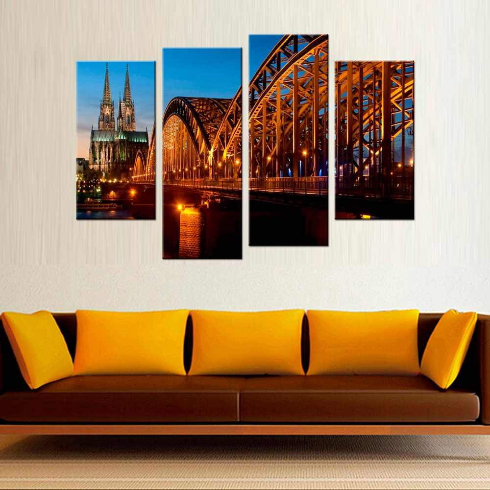 4 Pcs/Set Bridge River Cathedral Night Light Germany HD Print Canvas Painting Wall Art Home Decoration Poster Decor
