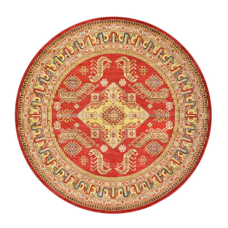 Round area rug chinese style colorful print flowers shapes for living room by table carpet