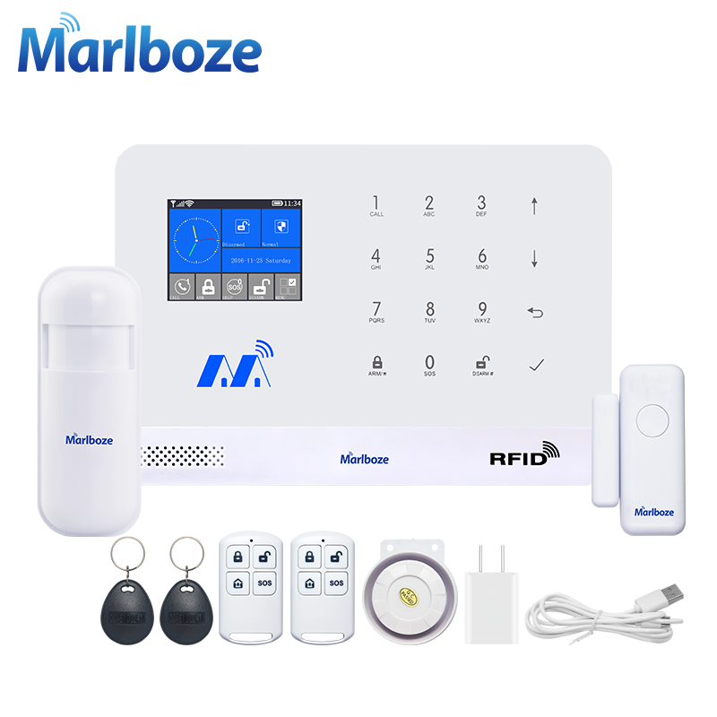 Marlboze Wireless Home Security GSM WIFI GPRS Alarm System IOS Android APP Remote Control RFID Card PIR Sensor Door Sensor kit fuers wireless home security gsm wifi sim alarm system ios android app remote control rfid card pir door sensor siren kit