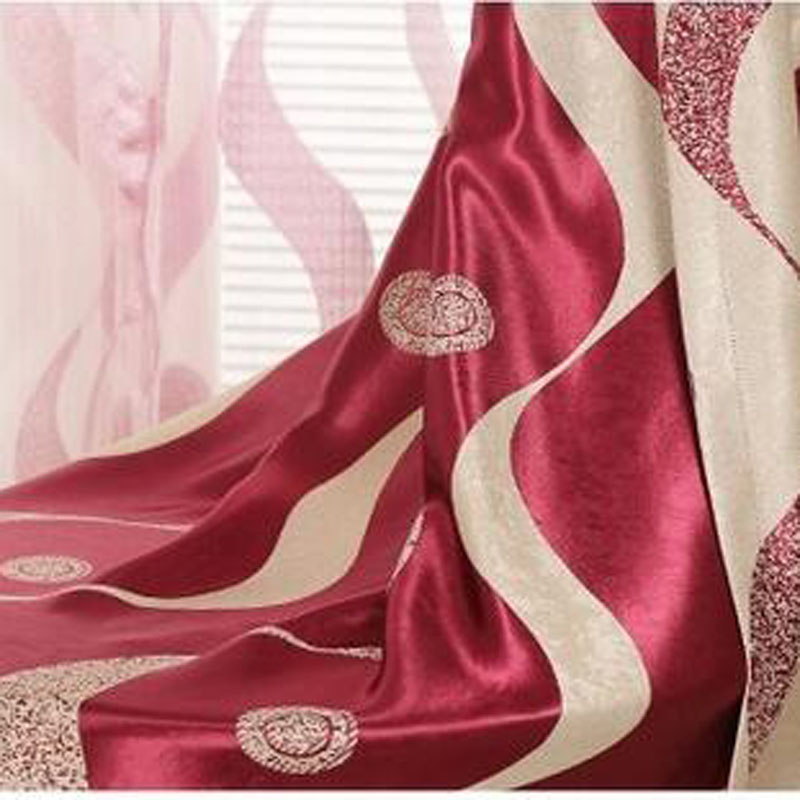 Chinese Classical S Striped Blackout Curtains Cotton Polyester Wine Red Bedroom Study Balcony French Curtain Drapes WP389C