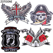 ZOTOONE Pirate Punk Vintage Garment Patch DIY Embroidered Patches Applique for Clothes Guns and Roses Back Badges Applications E