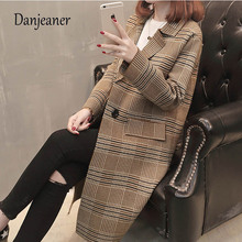 Danjeaner England Style Autumn Winter Wool Coats Women Long Blazers and Jackets Vintage Sleeve Plaid Female Blazer
