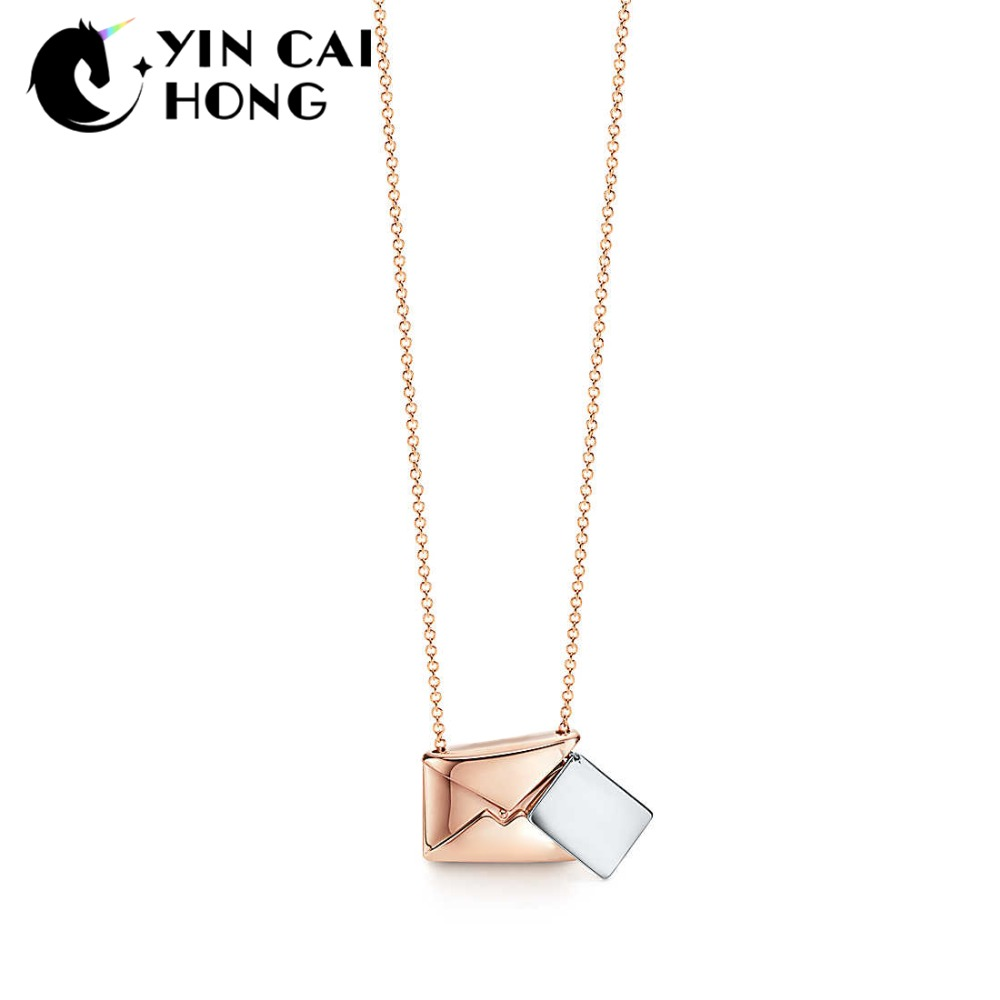 YCH Charm 925 Sterling Silver Fashion Simple TIFF Mail Love Letter Envelope Rose Gold Pendant Necklace Women Original Jewelry cso 17 delicate rose flower pendant necklace charm gold silver beauty rose jewelry necklace for women