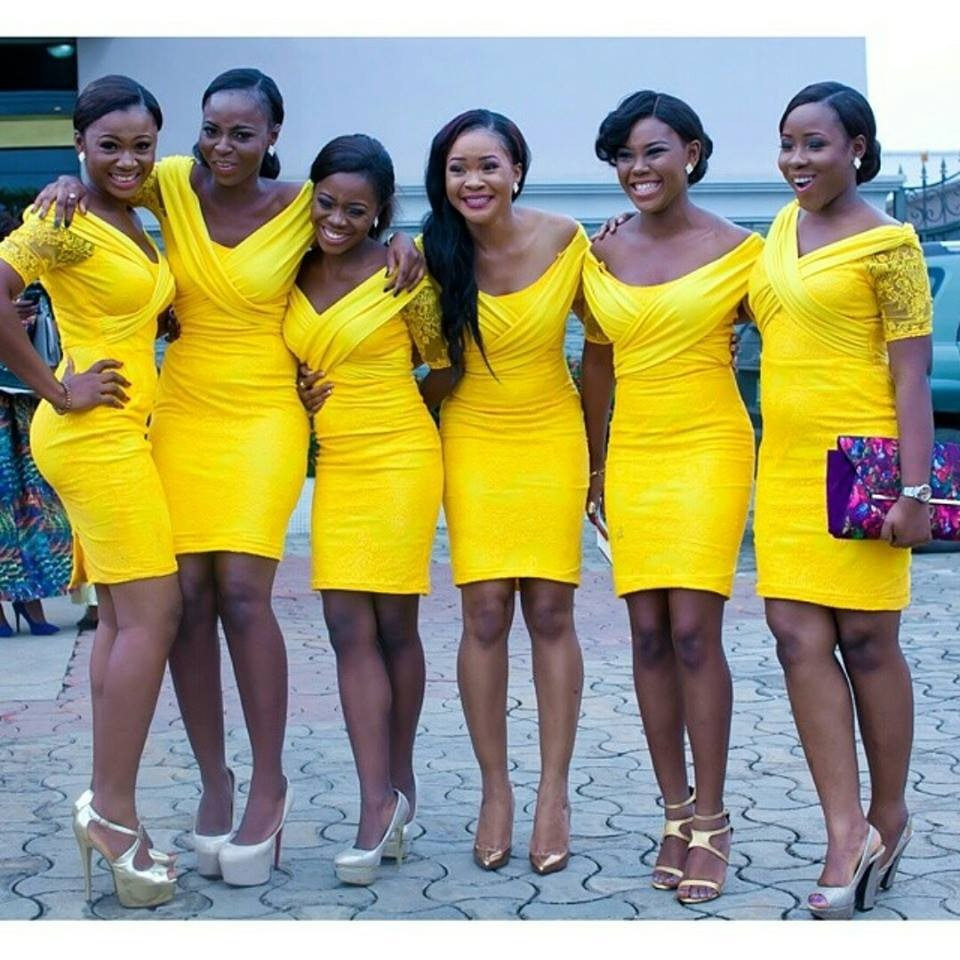 Online get cheap yellow knee length bridesmaid dress aliexpress high quality custom made sheath short sleeve knee length 2017 yellow short bridesmaid dresseschina ombrellifo Choice Image