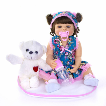 doll reborn baby Realistic girl silicone vinyl 55cm children bebes toys Ethnic doll for kids play house DIY toy Surprise gift