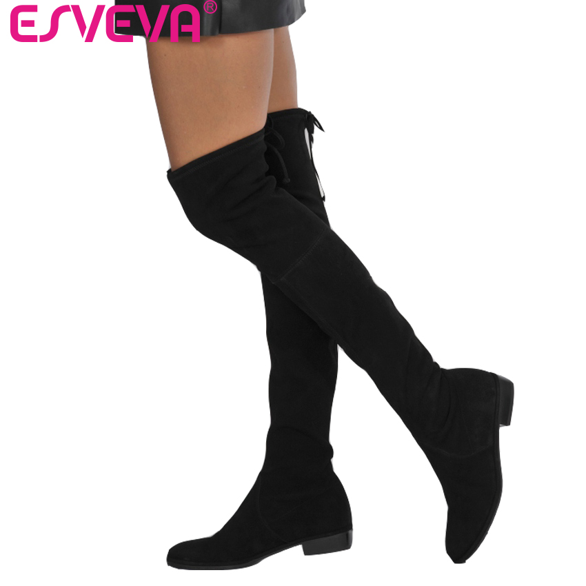 ESVEVA 2018 Over The Knee Boots Warm Fur Women Boots Sexy Ladies Lace Up Square Med Heel Winter Fashion Boots Black Size 34-43 vallkin 2018 lace up women boots rhinestone square high heel over the knee boots stretch fabric wedding ladies boots size 34 43