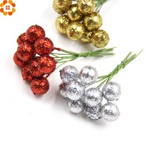 100PCS DIY Flowers Glitter Christmas Flowers Artificial Berries Artificial Flowers Stamens Wedding/Christams Party Decoration(China)