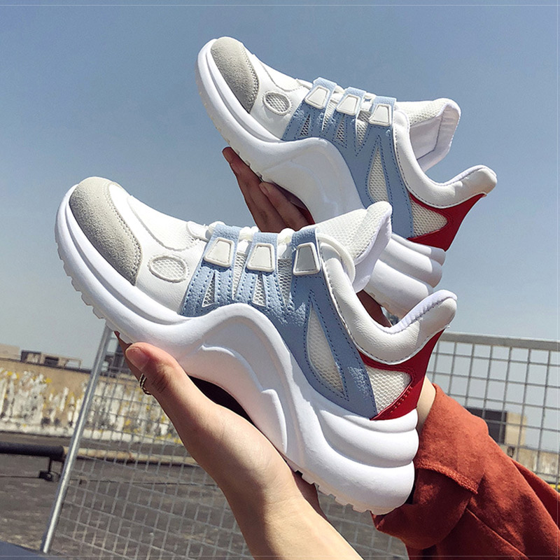 US $18.12 26% OFF|Women Shoes White Chunky Sneakers 2019 Spring Women Vulcanized Shoes Fashion Trainers Baskets Sneakers Women Chaussures Femme in