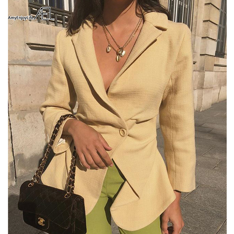 AEL Classic Fashion Single Button Women Jacket Blazer Notched Collar Female Suits Coat Fashion Outwear 2019