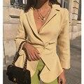 AEL Klassische Mode Einzigen Taste Frauen Jacke Blazer Kerb Kragen Weibliche Anzüge Mantel Mode Outwear 2019 Elegante Dünne Damen-in Blazer aus Damenbekleidung bei