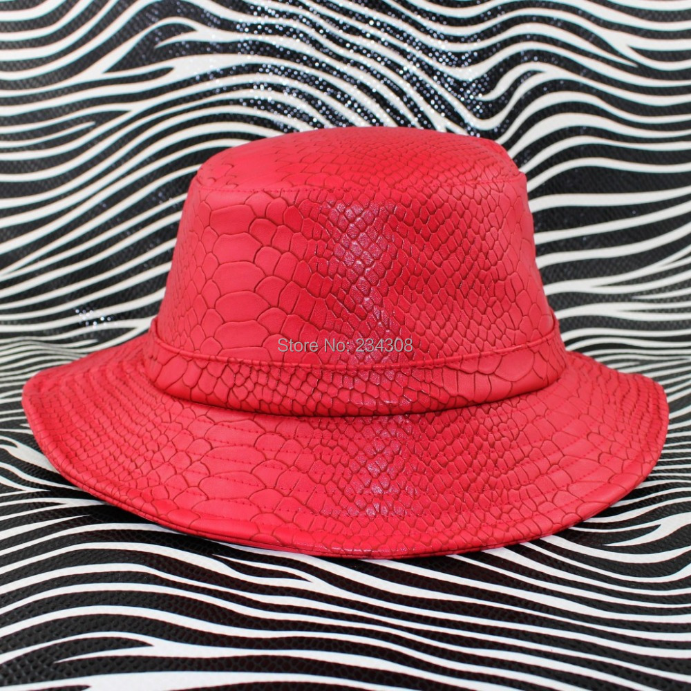 TOP Quality Snakeskin leather Dramatic Bucket Hat Hip Hop Accessory Fashion  leather Hat flexfit bucket hat Sole headwear-in Bucket Hats from Apparel ... a14b74be0a4
