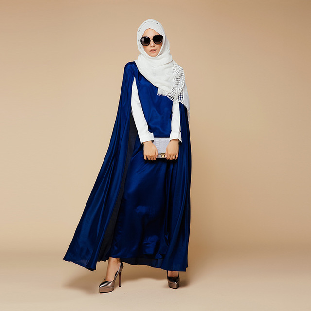 Islamic Blue Cloak Abayas Muslim Long Dress For Women Malaysia Dubai Turkish Ladies Clothing High Quality Robe