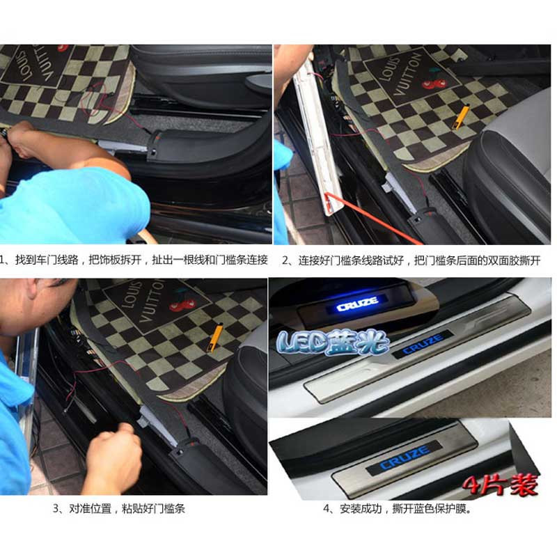 стайлинга автомобилей буле привело двери лампы нержавеющей автомобилей накладки на пороги защитные 4 шт./компл. для Шевроле Cruze пороги