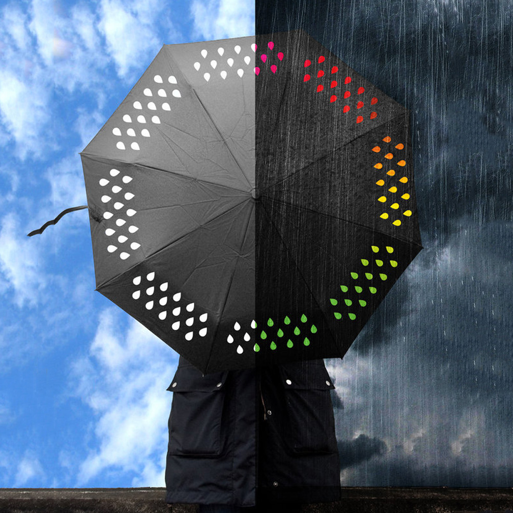 NEW Creative 1 pcs Colour Changing Umbrella Rainbow Rain Drops Novelty New Year Xmas Gift umbrella rain women for sale