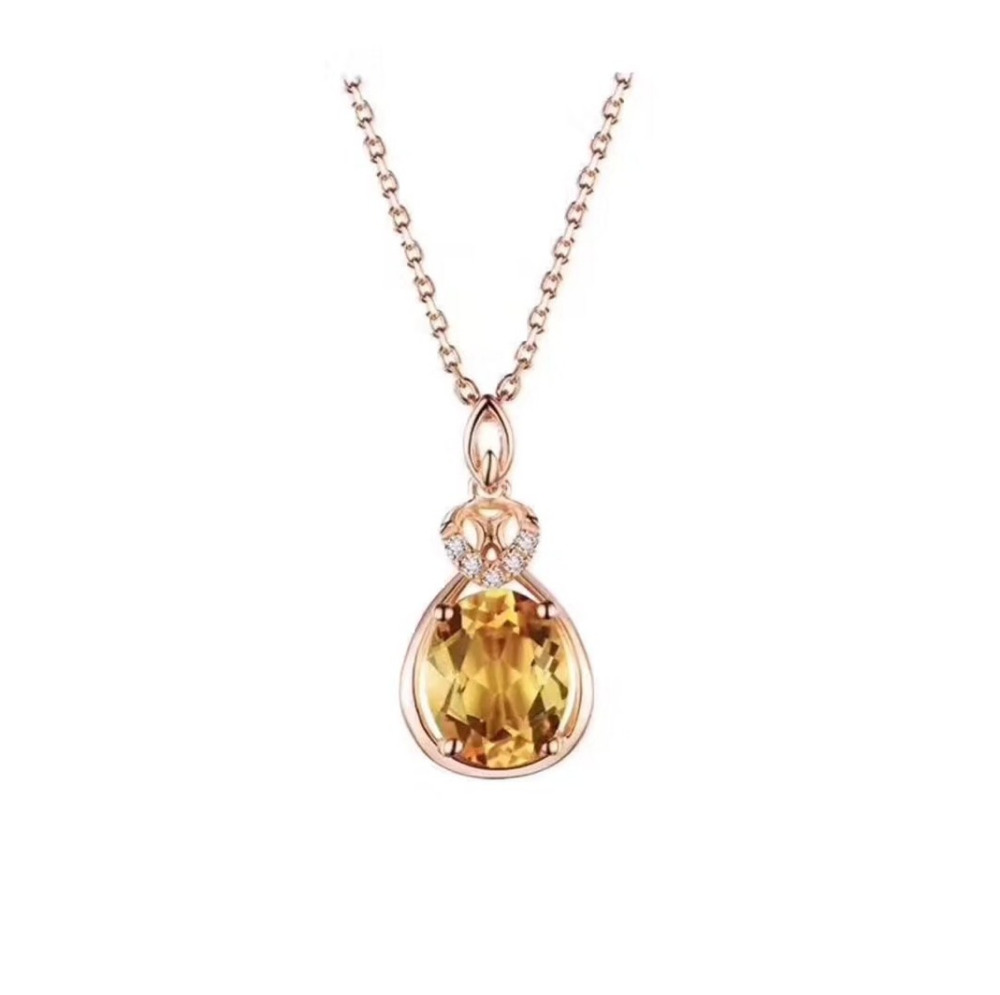 Fashion Natural yellow crystal Elegant water Drop round pendant S925 silver Natural citrine Pendant Necklace woman party jewelry lelady crystal necklace drop pendant fashion necklace