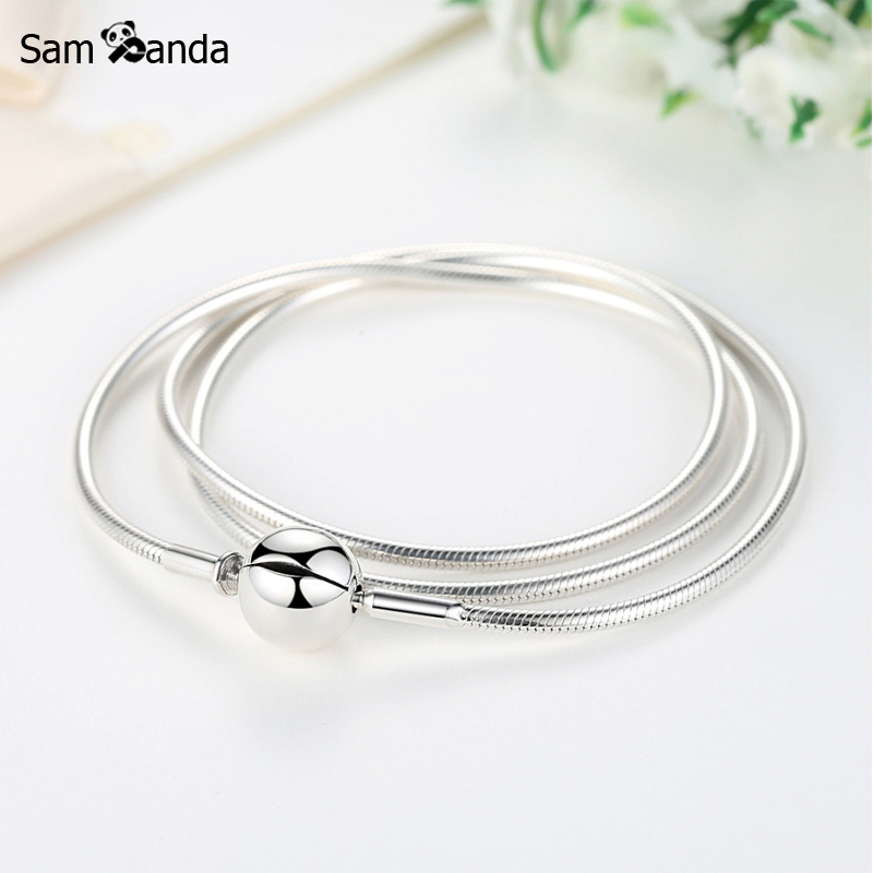 New Authentic 100% 925 Sterling Silver Charm Necklace Moments DIY Snake Chain Necklaces Fit Pan Beads Vintage For Women Jewelry