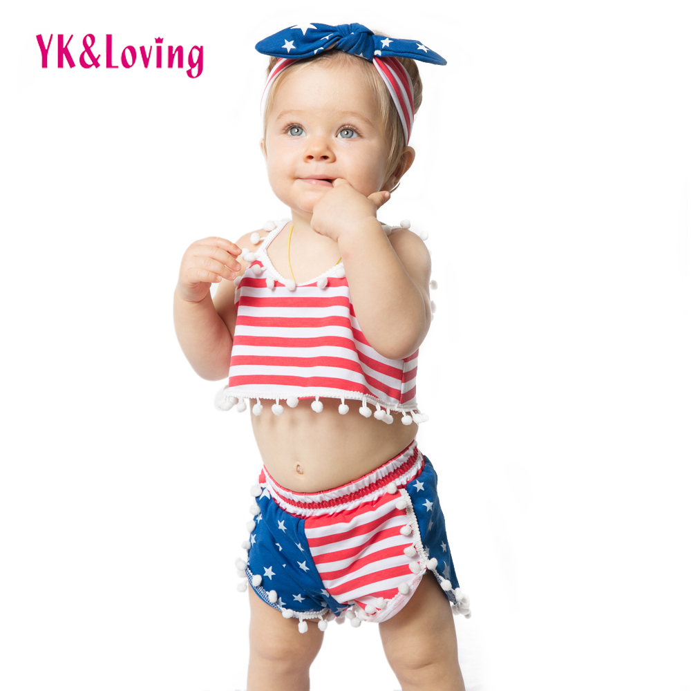 America Girls Clothes Sets 4. juli Rød / Blå Strips Børn Set Baby - Børnetøj - Foto 6