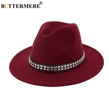 BUTTERMERE Cotton Fedoras Women Burgundy Casual Jazz Hat Ladies Elegant Metal Wide Brim Felt Female Autumn Winter Fedora Cap