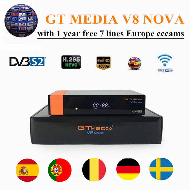 GT MEDIA V8 NOVA Satellite TV Receiver DVB-S2 with free Europe Cccams/Clines for 1 year spain cccams espa a WIFI Built-in